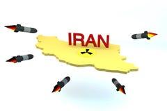 Модель Ирана нападения ракет с ядерным логосом Стоковое Фото