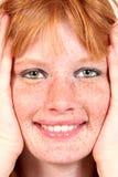 модель красивейшего крупного плана freckled Стоковое Изображение RF