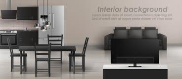 Модель-макет вектора внутренний квартира-студии иллюстрация вектора