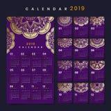 Модель-макет календаря мандалы стоковая фотография