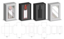 Модель-макет коробки 3d бумаги твердой волокнистой плиты твердый с dieline иллюстрация штока