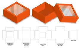 Модель-макет коробки 3d бумаги твердой волокнистой плиты твердый с dieline иллюстрация вектора