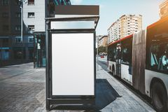 Модель-макет плаката на автобусной остановке стоковое фото