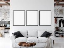 Модель-макет рамки Модель-макет внутренней стены живущей комнаты Искусство стены 3D перевод, иллюстрация 3D бесплатная иллюстрация