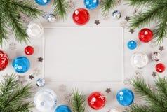 Модель-макет рождественской открытки с голубым и красным переводом безделушек 3D иллюстрация вектора