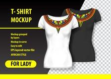 Модель-макет футболки с африканскими орнаментами в 2 цветах Модель-макет наслоенный и editable иллюстрация вектора