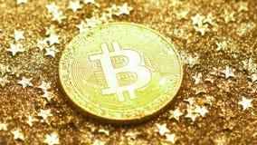 Модель макроса окруженная Sparkles сделанными системой Bitcoin