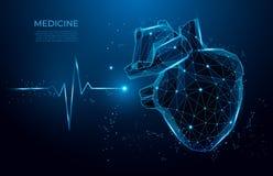 Абстрактные линии формы сердцебиения и треугольники, сеть пункта соединяясь на голубой предпосылке модель медицины 3d низко поли иллюстрация вектора
