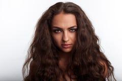 Модель смешанной гонки с волосами как грива льва стоковые фотографии rf
