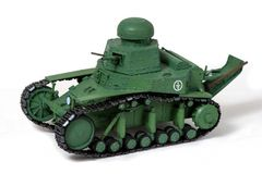 Модель старого советского танка бумаги на белой предпосылке Посмотрите право Концепция ручного труда стоковое изображение rf
