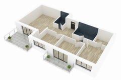 модель 3d пустой домашней квартиры Стоковое Фото