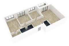 модель 3d пустой домашней квартиры Стоковые Изображения