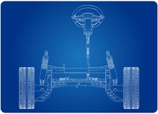 модель 3d рулевой колонки и подвески гондолы на сини иллюстрация штока