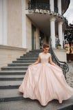 Модель Joung с большим платьем вечера готовит ресторан Brunettegirl имеет красивую прическу стоковые фото