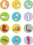 Модные женские ботинки Комплект значка Стоковое Фото