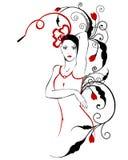 модный флористический орнамент девушки Иллюстрация штока