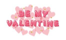 мое Валентайн Розовые лоснистые письма с сердцами и точками польки яркого блеска Стоковое Фото