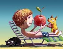 Мое красное яблоко Стоковые Изображения