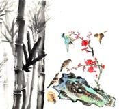 Мое произведение искусства от 2012-2014-- цветок и птица Стоковая Фотография RF