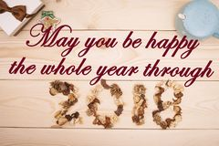 Можете вы быть счастливы весь год через надпись стоковое изображение