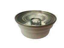 Может сохраненной еды на белой предпосылке, пластмассы может еда Стоковая Фотография RF