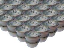 Может сохраненной еды на белой предпосылке, пластмассы может еда Стоковое Изображение RF