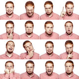 Мозаика бизнесмена выражая различные эмоции Бородатый бизнесмен с красной белой рубашкой с 16 различными эмоциями Стоковое Изображение RF