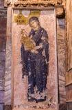 Мозаика Иисуса и Mary в церков Chora Стоковое Изображение