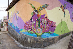 Мозаика и murales в Вальпараисо, Чили стоковое изображение