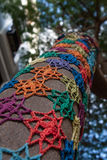 Мозаика картины Knit на дереве Стоковые Фото