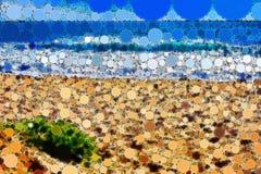 Мозаика крыла сцену черепицей пляжа с точной деталью бесплатная иллюстрация