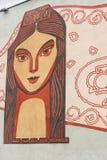 Мозаика на стене стержня переноса перехода здания железнодорожного вокзала Kazan-1 в Казани Татарстан Россия стоковое изображение rf