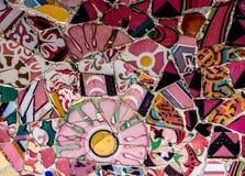 Мозаика на флигеле ¼ парка GÃ, Барселона Gaudi, Испания стоковое фото rf