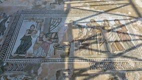 Мозаика пола древнегреческия в археологическом парке Kato Paphos, Кипре Стоковые Фото