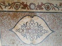 Мозаика старой мозаики красная и желтая римская Стоковые Изображения RF