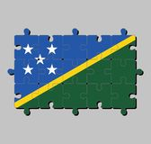 Мозаика флага Соломоновых Островов в тонкой желтой узкой раскосной нашивке разделенной раскосно с зеленым и голубым треугольником бесплатная иллюстрация