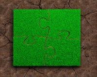 4 мозаики с зеленой травой Стоковое фото RF