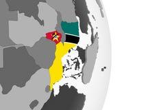 Мозамбик с флагом на глобусе бесплатная иллюстрация