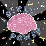 Мозг главная власть девушек иллюстрация вектора