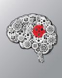 Мозг и шестерня иллюстрации вектора Стоковые Изображения RF