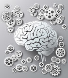 Мозг и шестерня иллюстрации вектора Стоковое Изображение