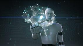 Мозг киборга робота касающий соединяет цифровые линии, растет искусственный интеллект иллюстрация вектора