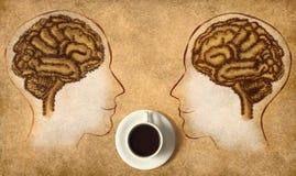 Мозг кофе сделанный фасолей иллюстрация вектора