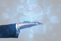 Мозг на телефоне Стоковые Изображения