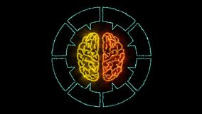 Мозг 001 - неон Infographic 4K иллюстрация вектора
