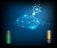 Мозг обязанности энергии электрической батареи, синий светлый конспект иллюстрация штока
