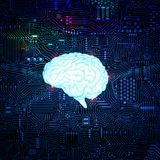Мозг с предпосылкой цепи Стоковые Изображения