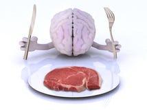 Мозг с руками, утварями и стейком Стоковая Фотография RF