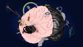 Мозг с символами 2 полусфер #3 Стоковая Фотография
