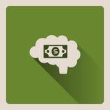 Мозг думая в деньгах на зеленой предпосылке с тенью Стоковые Изображения